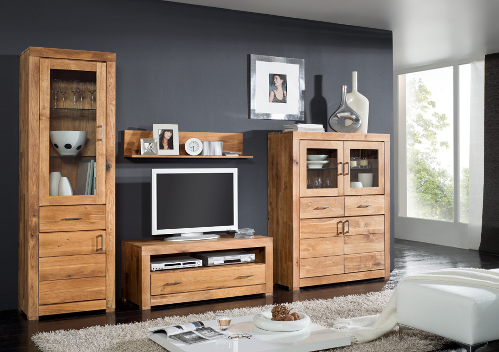 sam highboard massive wildeiche ge lt ancona 17003. Black Bedroom Furniture Sets. Home Design Ideas