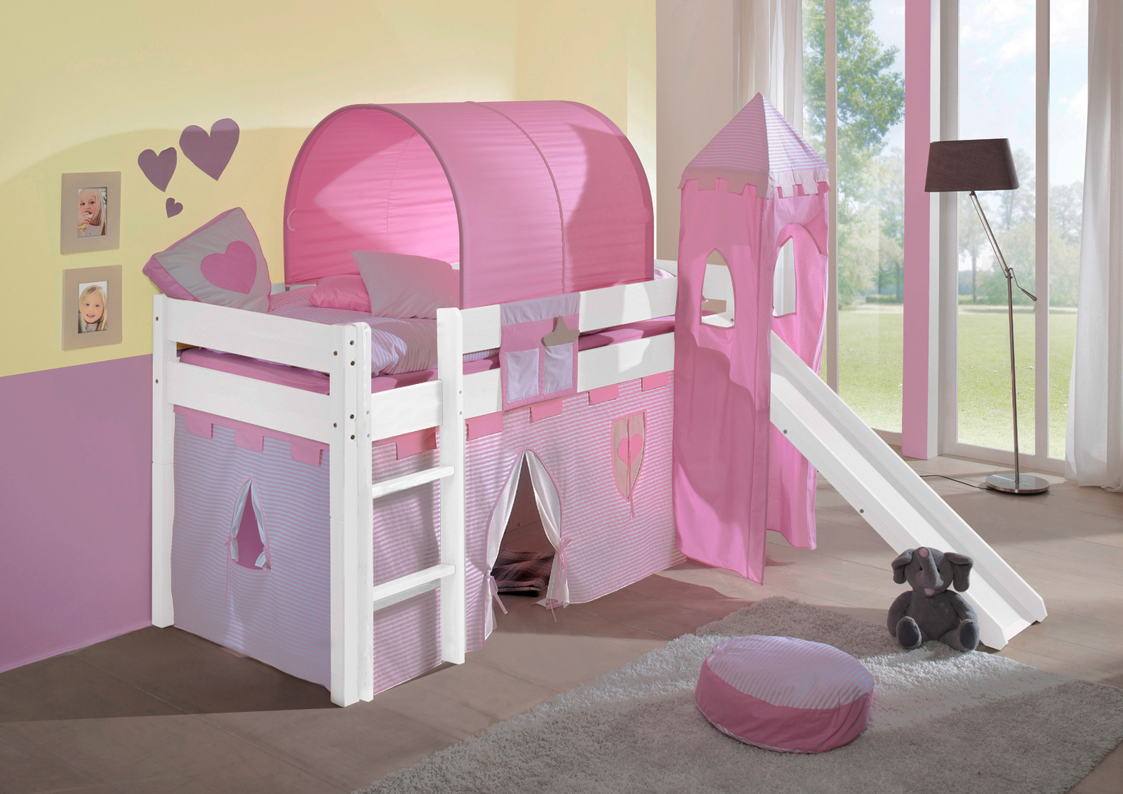 sam kinder spielbett prinzessin i wei gerade massiv buche. Black Bedroom Furniture Sets. Home Design Ideas