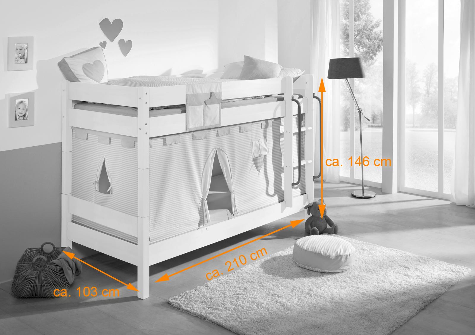 Etagenbett Kinder Zubehör : Weißes etagenbett für kinder buche massiv cm teilbar auf