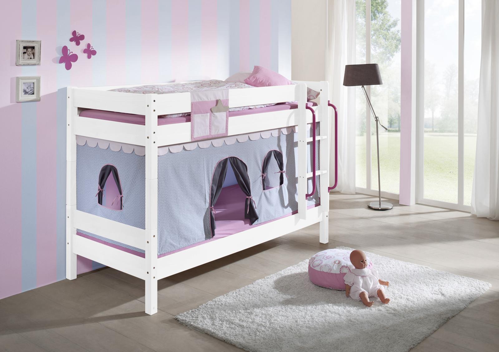 Etagenbett Kinder Weiß : Etagenbett tam in weiß mit leiter und regalen von parisot