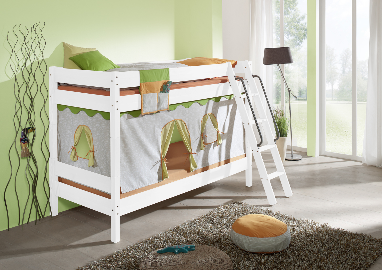 Etagenbett Kinder Buche Massiv : Sam kinder etagenbett ritter i weiß gerade massiv buche