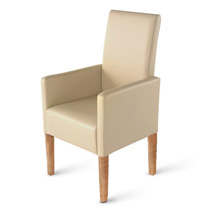 sam esszimmerstuhl armlehnstuhl creme recyceltes leder varese demn chst. Black Bedroom Furniture Sets. Home Design Ideas