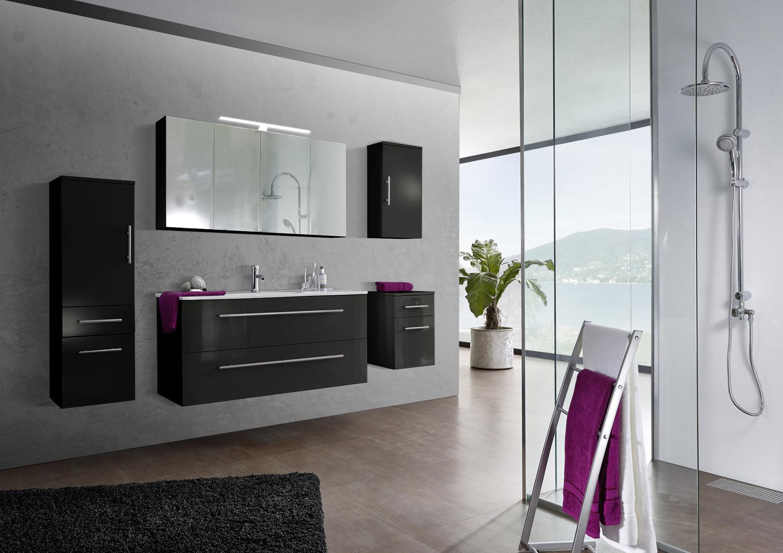 SAM® 5tlg. Badezimmer Set Spiegelschrank schwarz 120 cm Verena ...