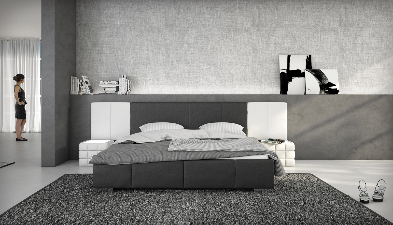 sam polsterbett doppelbett 140x200 cm schwarz wei nemo. Black Bedroom Furniture Sets. Home Design Ideas