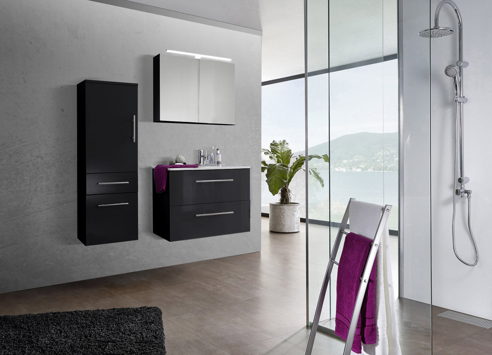sam 3tlg badezimmer set spiegelschrank schwarz 80 cm verena. Black Bedroom Furniture Sets. Home Design Ideas