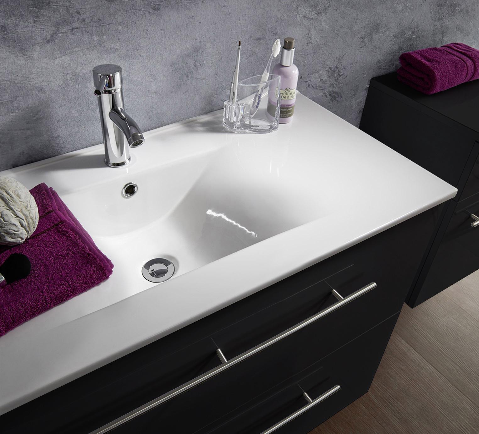 sam 2tlg badezimmer set spiegelschrank schwarz 80 cm verena. Black Bedroom Furniture Sets. Home Design Ideas