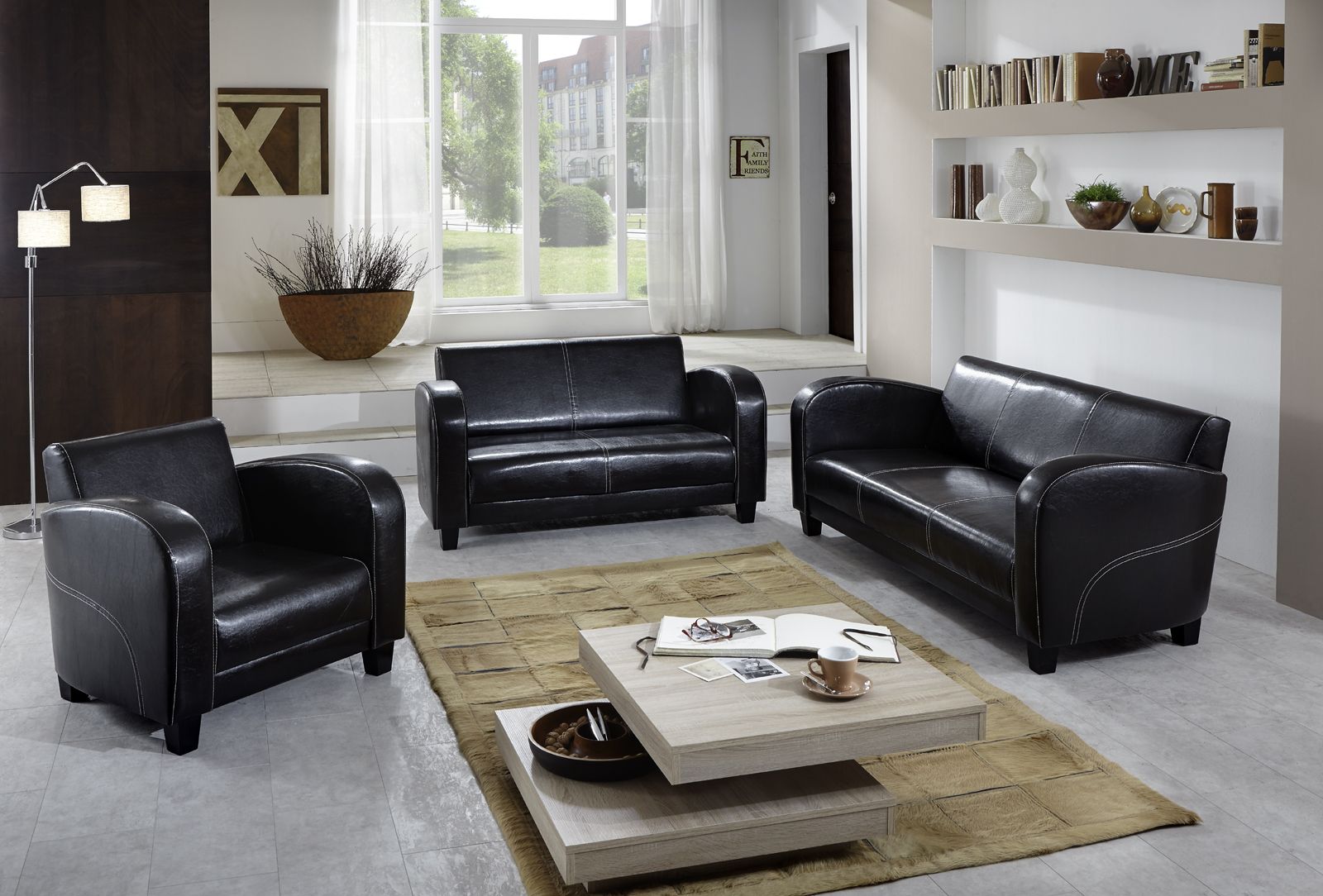 sam 3tlg sofa garnitur antik braun patryk 3 2 1. Black Bedroom Furniture Sets. Home Design Ideas