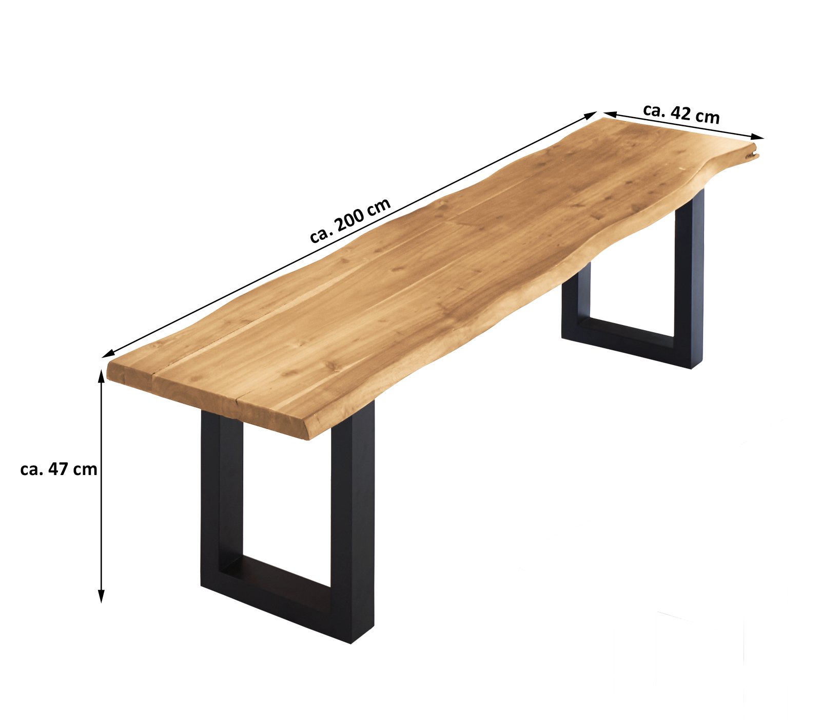 sam sitzbank holz massiv baumkante 200 x 47 x 40 cm akazie milo demn chst. Black Bedroom Furniture Sets. Home Design Ideas