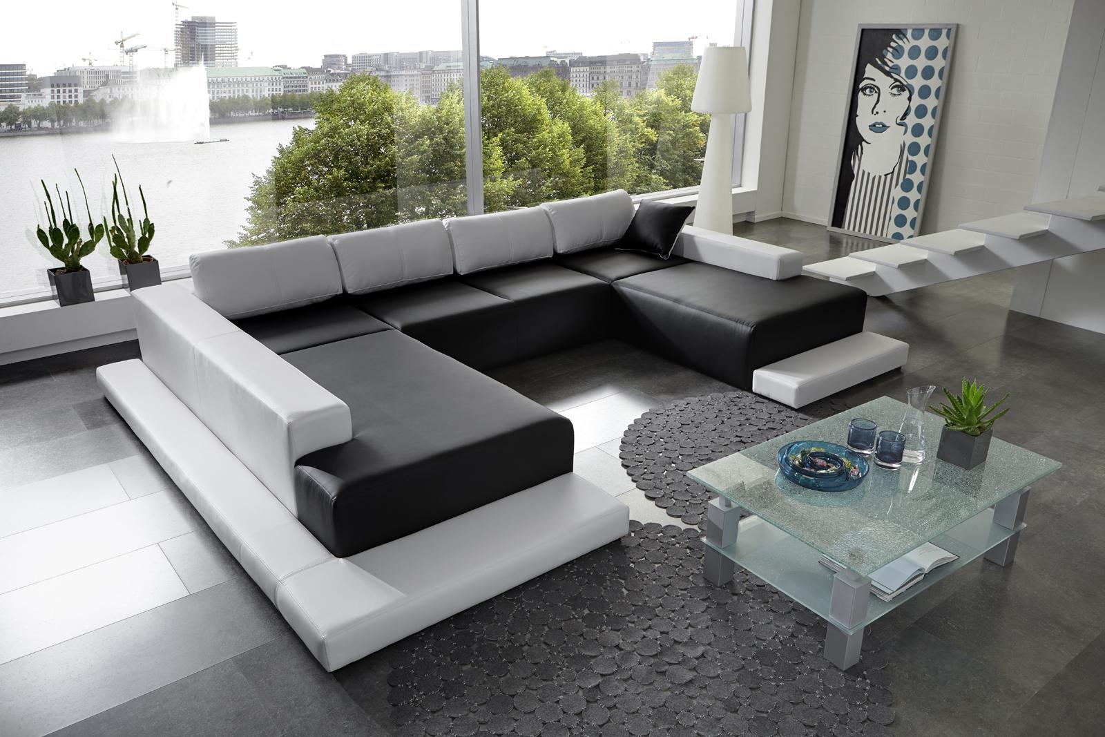 sam wohnlandschaft schwarz wei diverso 260 x 360 x 200. Black Bedroom Furniture Sets. Home Design Ideas
