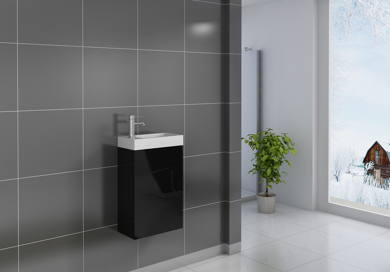 sam g ste wc waschbecken 40 x 22 cm schwarz vega. Black Bedroom Furniture Sets. Home Design Ideas