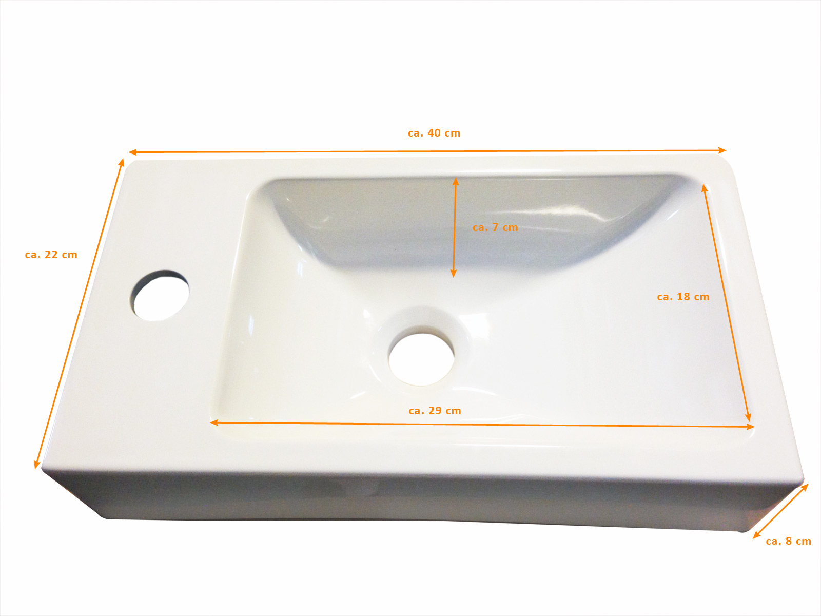 Sehr SAM® Gäste-WC Waschbecken 40 x 22 cm weiß Vega AN42