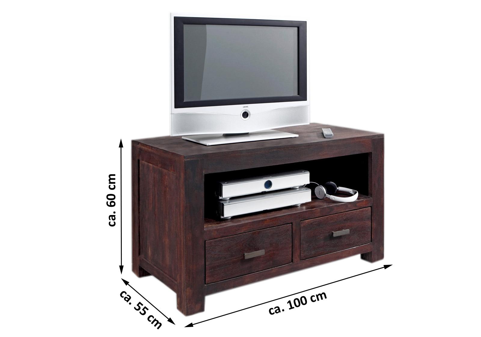 sam tv lowboard tv board 100 cm massiv akazie tabak. Black Bedroom Furniture Sets. Home Design Ideas