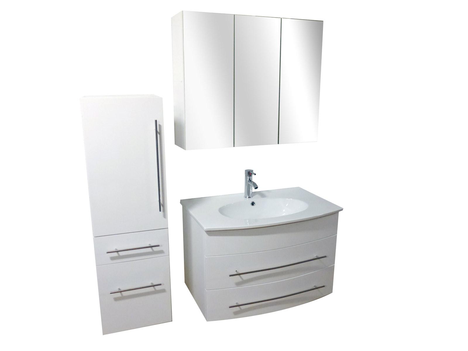 sam badm bel set 3tlg waschbecken 80 cm wei hochglanz. Black Bedroom Furniture Sets. Home Design Ideas