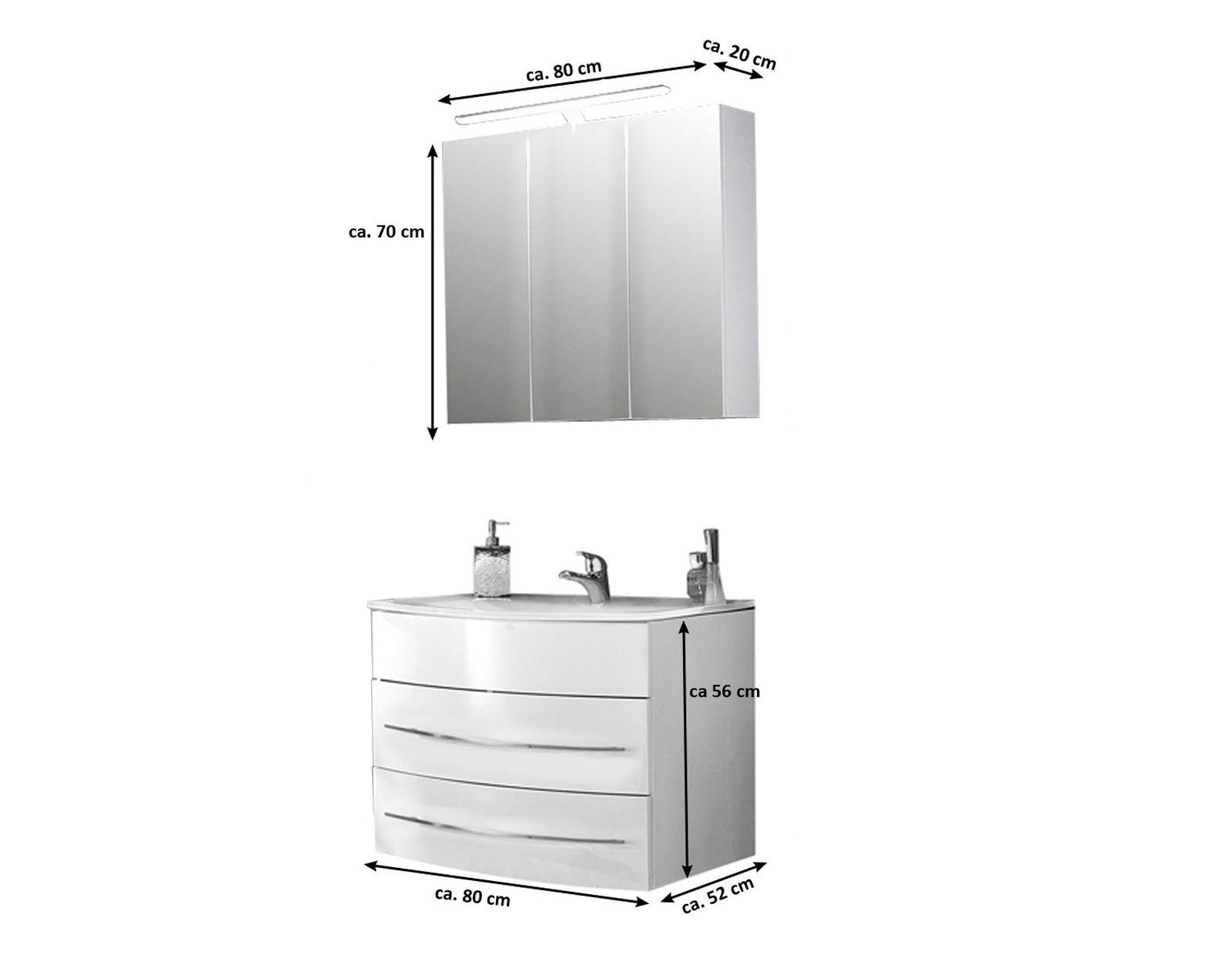 Bevorzugt SAM® Badmöbel Set 2tlg Waschbecken 80 cm weiß Hochglanz Dublin VP42