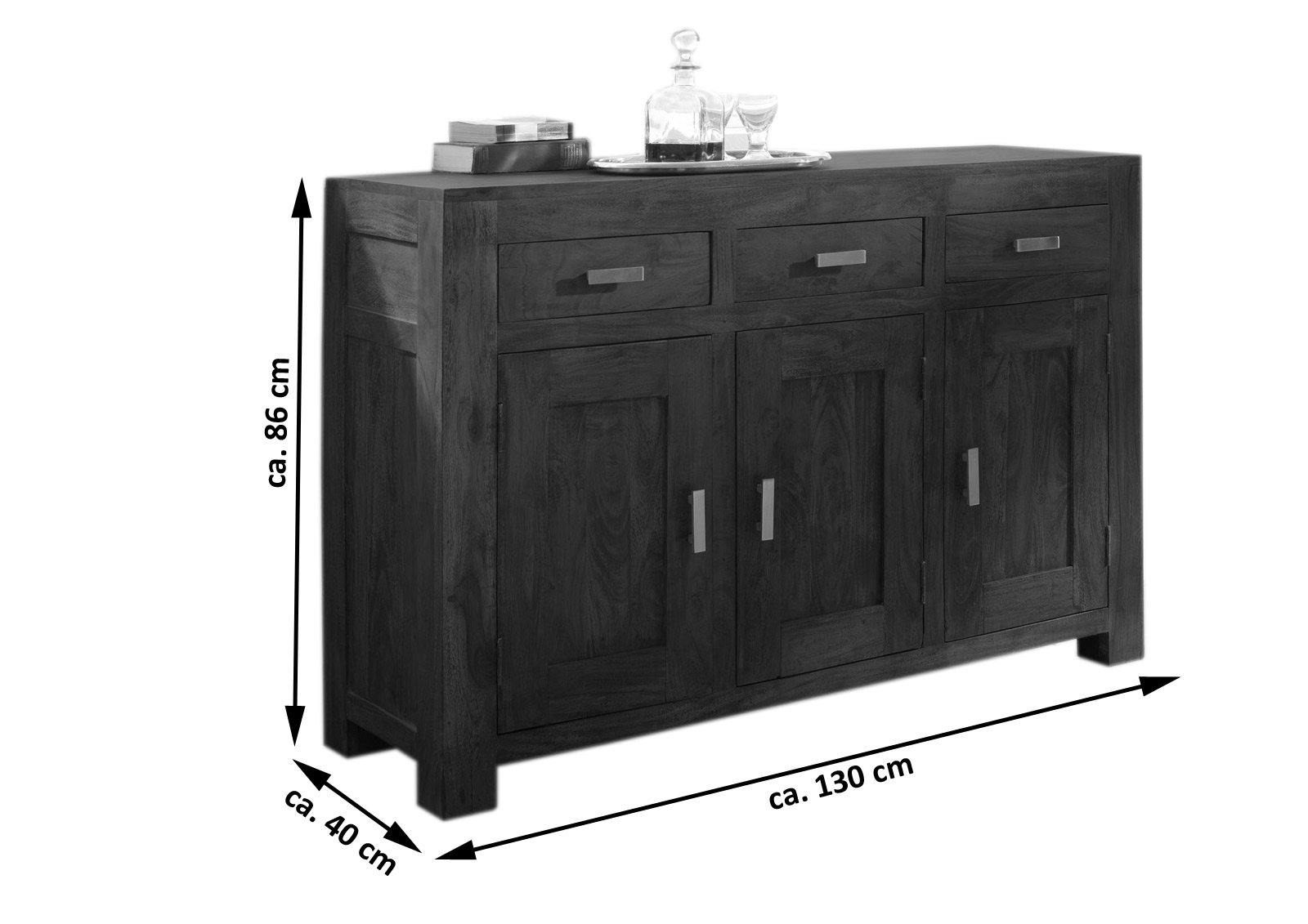sam kommode sideboard 130 x 86 cm akazie massiv tabak. Black Bedroom Furniture Sets. Home Design Ideas