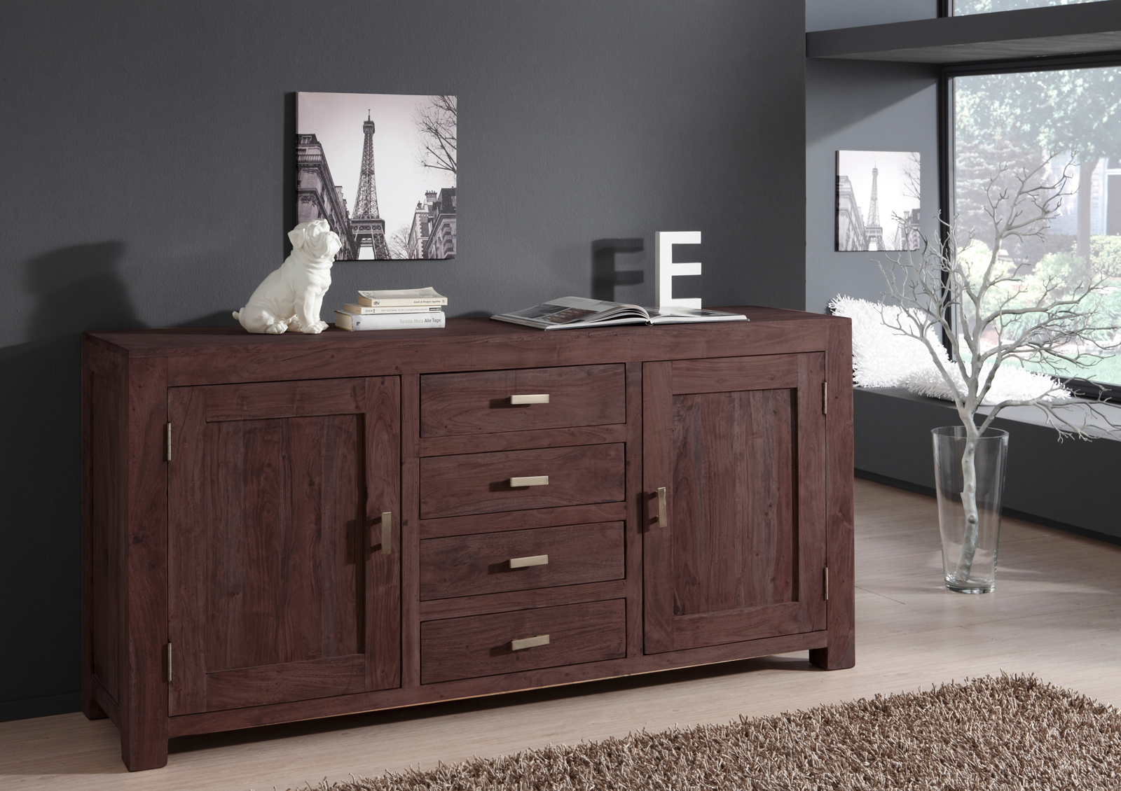 sam sideboard kommode 175 x 85 cm akazie massiv tabak timber 6650. Black Bedroom Furniture Sets. Home Design Ideas