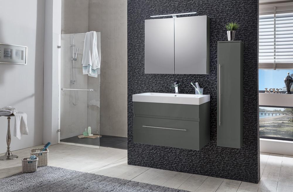SAM® Badezimmer Set LUNIK 3tlg Spiegelschrank Grau 80 Cm
