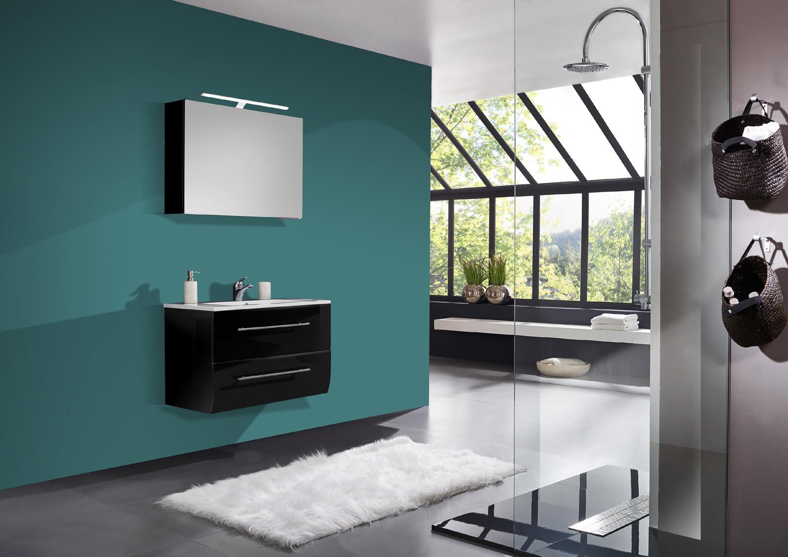 sam® 2tlg badezimmer set schwarz hochglanz 70cm niagara deluxe, Badezimmer ideen