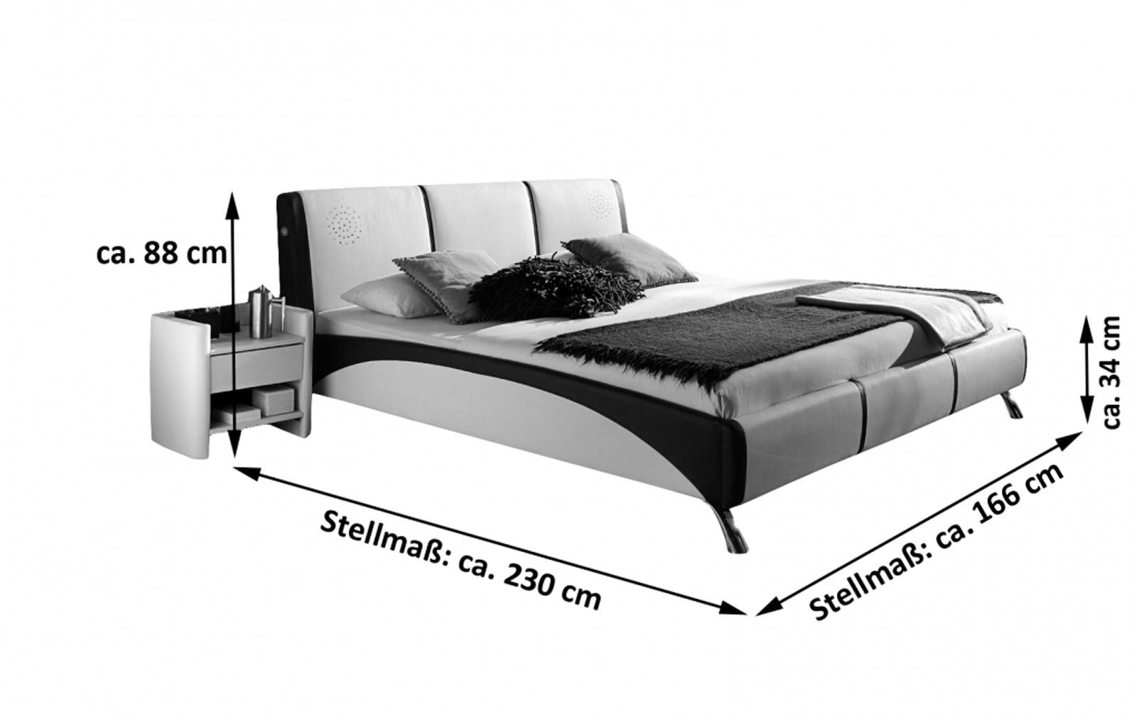 sale polsterbett 160x200 g nstig mit soundsystem wei schwarz fun. Black Bedroom Furniture Sets. Home Design Ideas