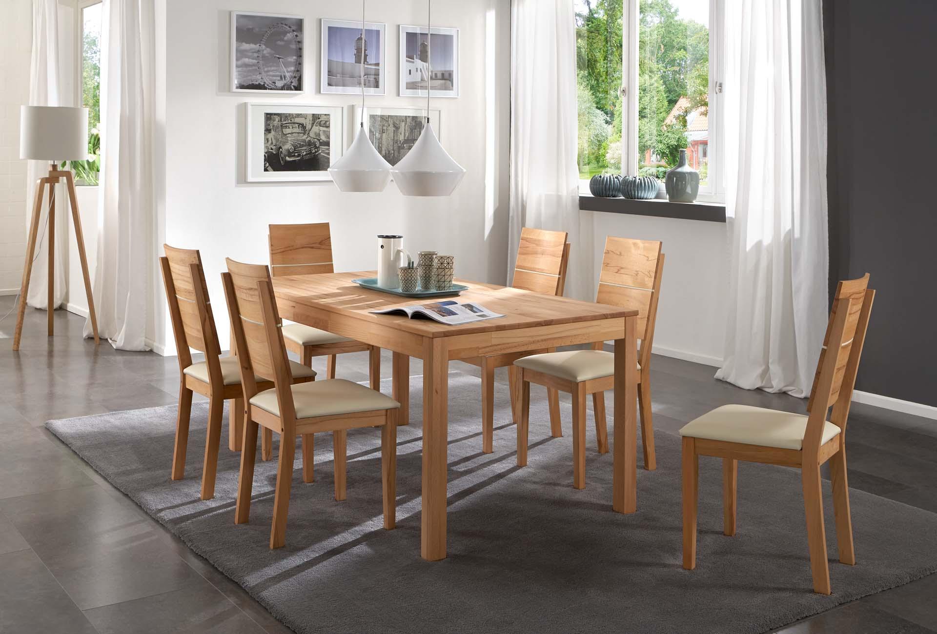 sam essgruppe 7tlg tisch 140 cm massivholz kernbuche siggi. Black Bedroom Furniture Sets. Home Design Ideas