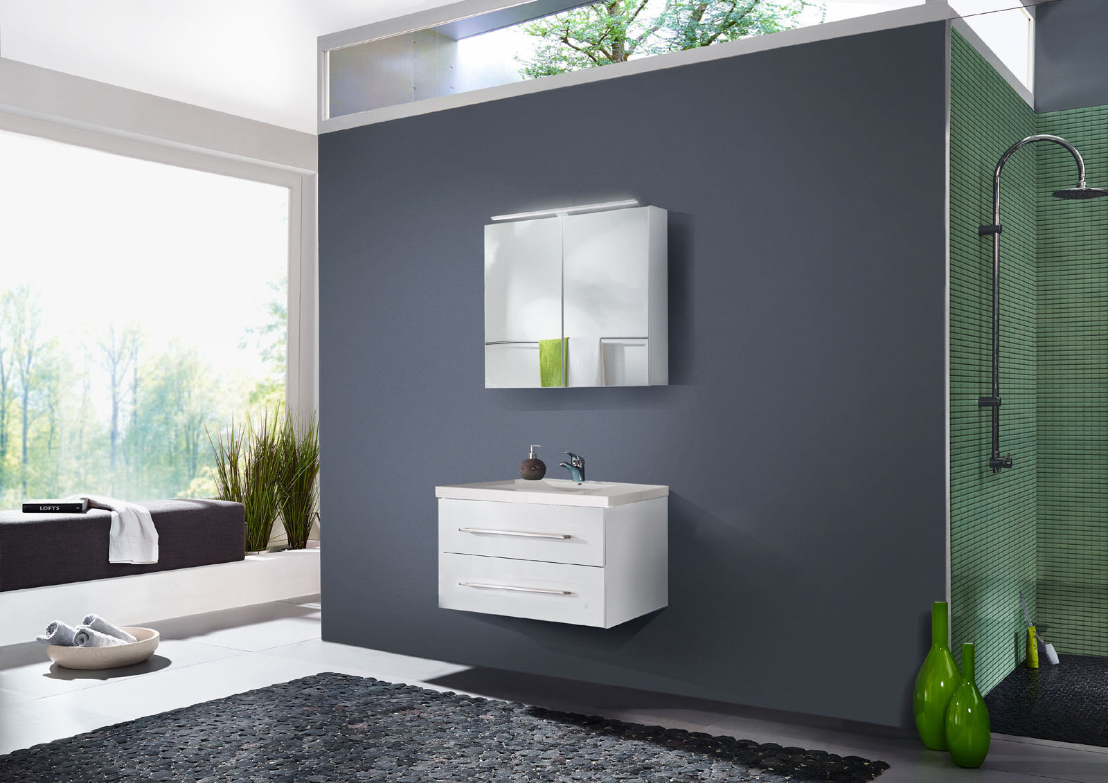 sale badezimmer set 2tlg hochglanz wei 90 cm dublin. Black Bedroom Furniture Sets. Home Design Ideas