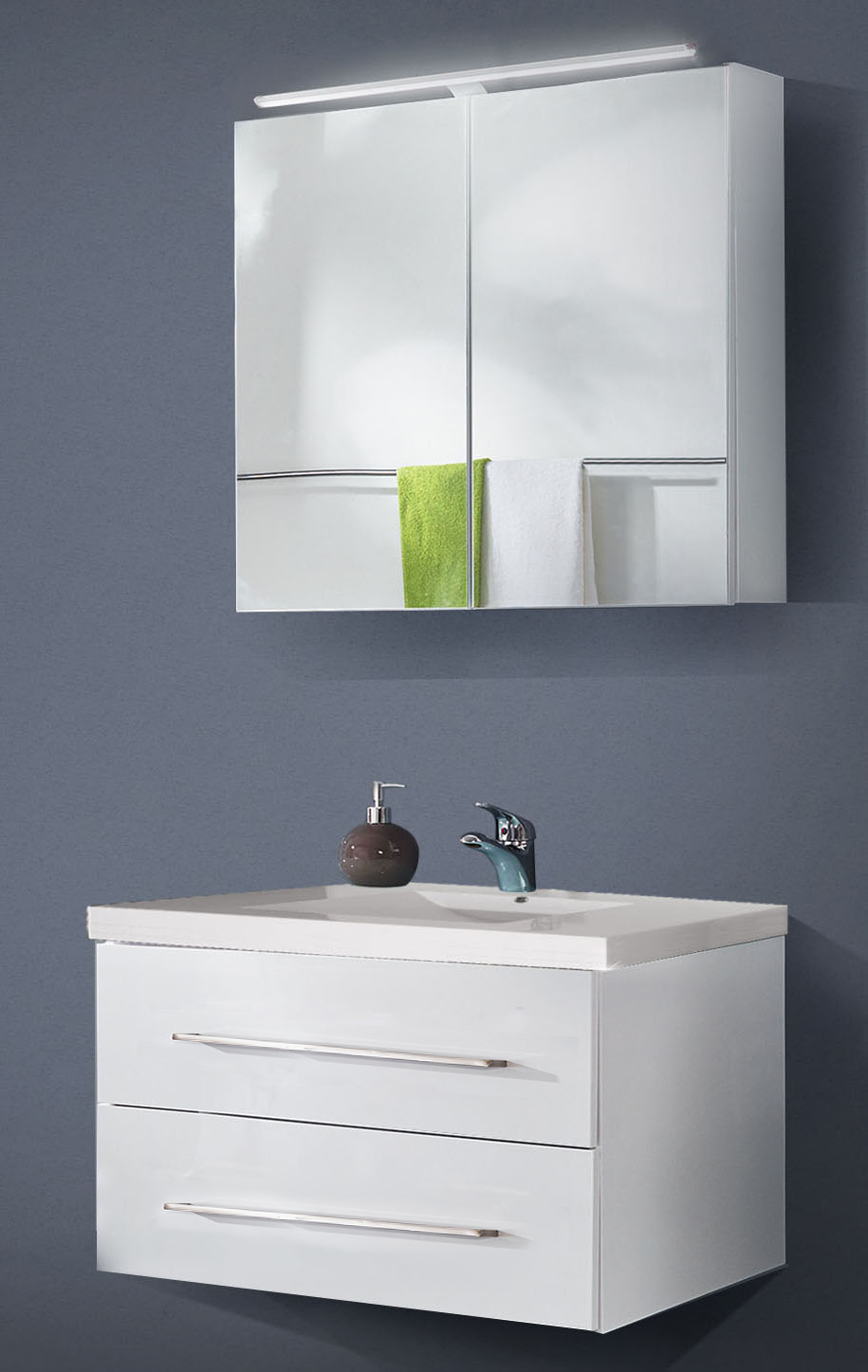 Sale badezimmer set 2tlg hochglanz wei 90 cm dublin for Badezimmer 90 cm