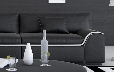 sam design sofa schwarz couch 2 sitzer arica. Black Bedroom Furniture Sets. Home Design Ideas