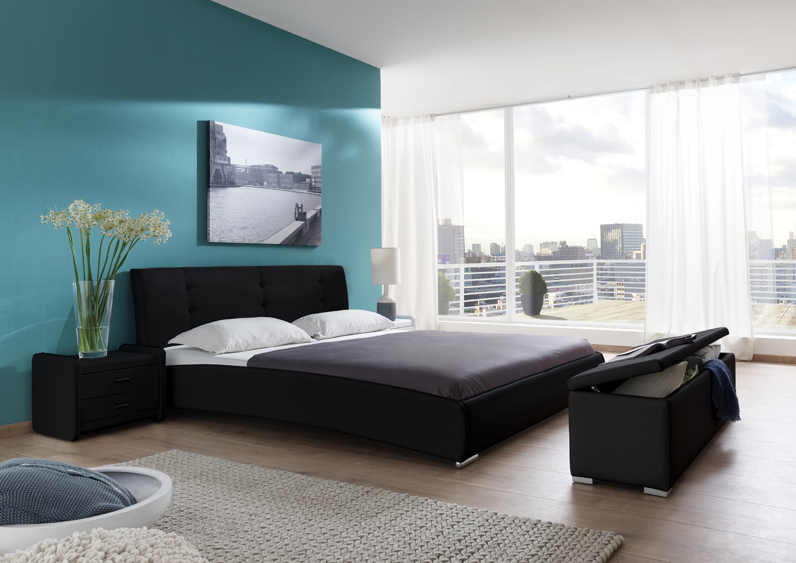 sam polsterbett einzelbett 90 x 200 cm schwarz bebop. Black Bedroom Furniture Sets. Home Design Ideas
