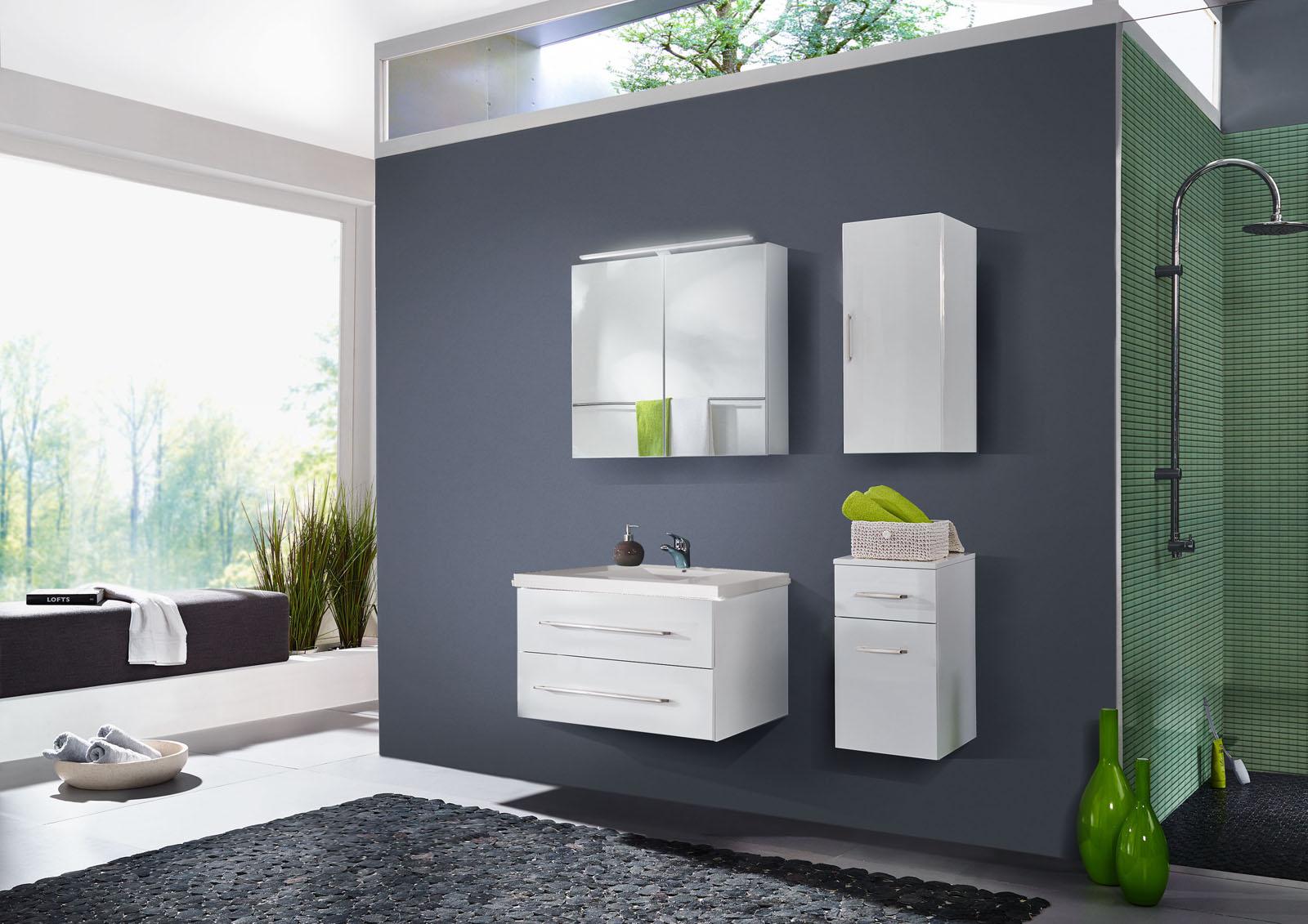 sale badezimmer set 4tlg hochglanz wei 90 cm dublin. Black Bedroom Furniture Sets. Home Design Ideas