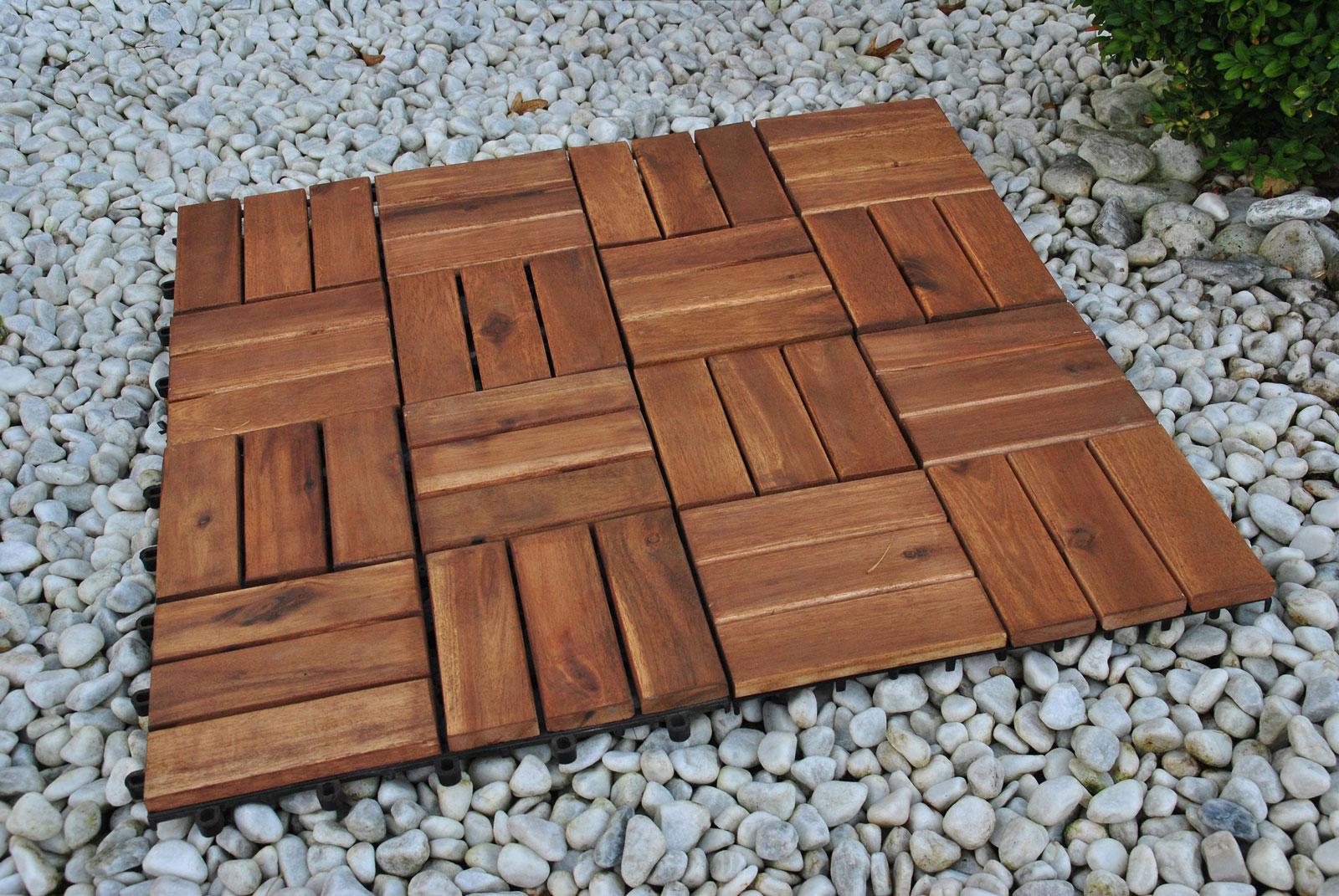 SAM® Holzfliesen Set 11 Stück = 1 m ² Akazie FSC® Modell 02 Demnächst !