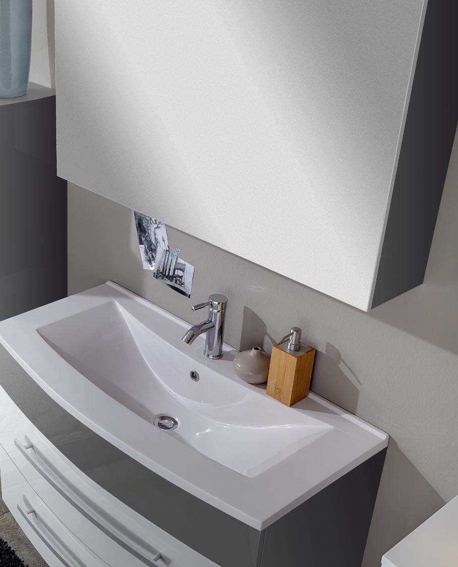 sam® 2tlg badezimmer hochglanz weiß/grau 80 cm genf deluxe, Badezimmer ideen