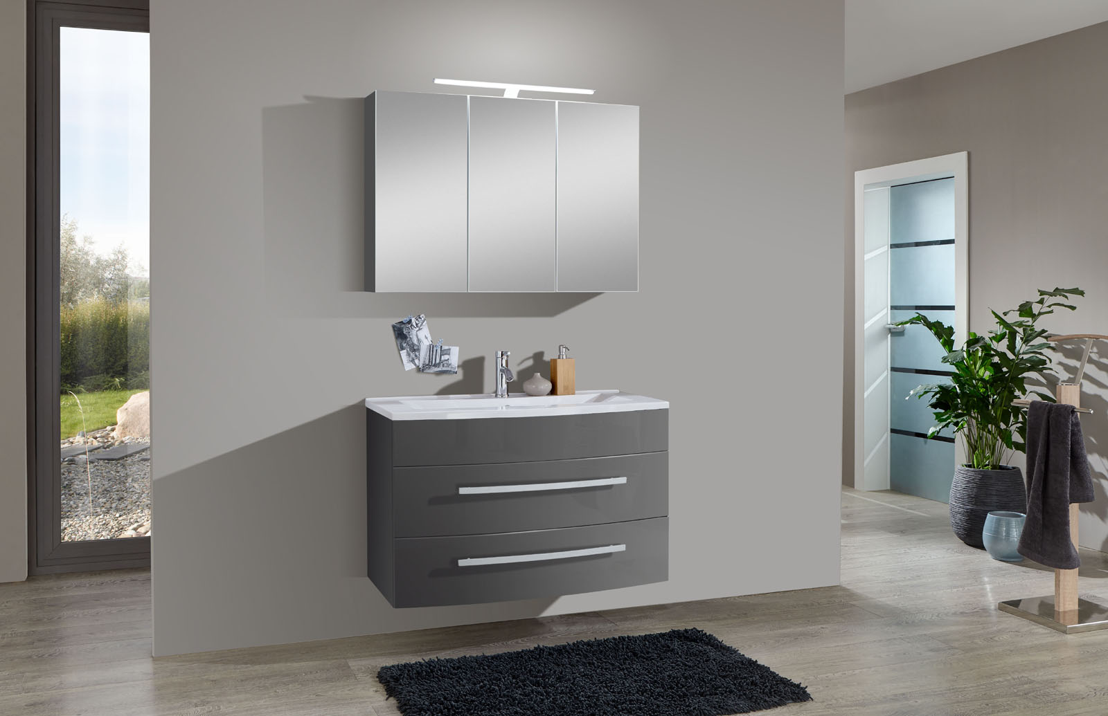 SAM® 2tlg Badezimmer Set Hochglanz Grau 90 Cm Genf Auf Lager !