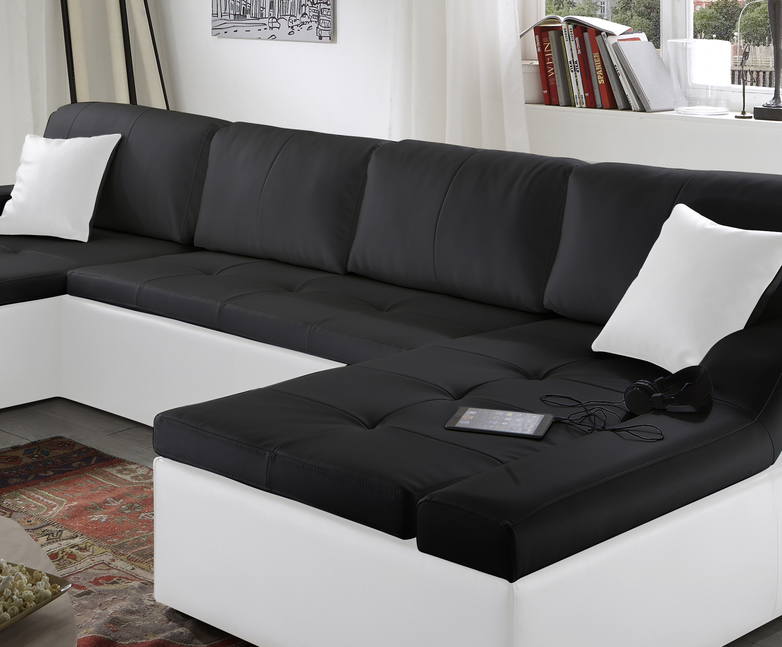 sam sofa schwarz wei wohnlandschaft rosella 230 x 335 x 190 cm. Black Bedroom Furniture Sets. Home Design Ideas