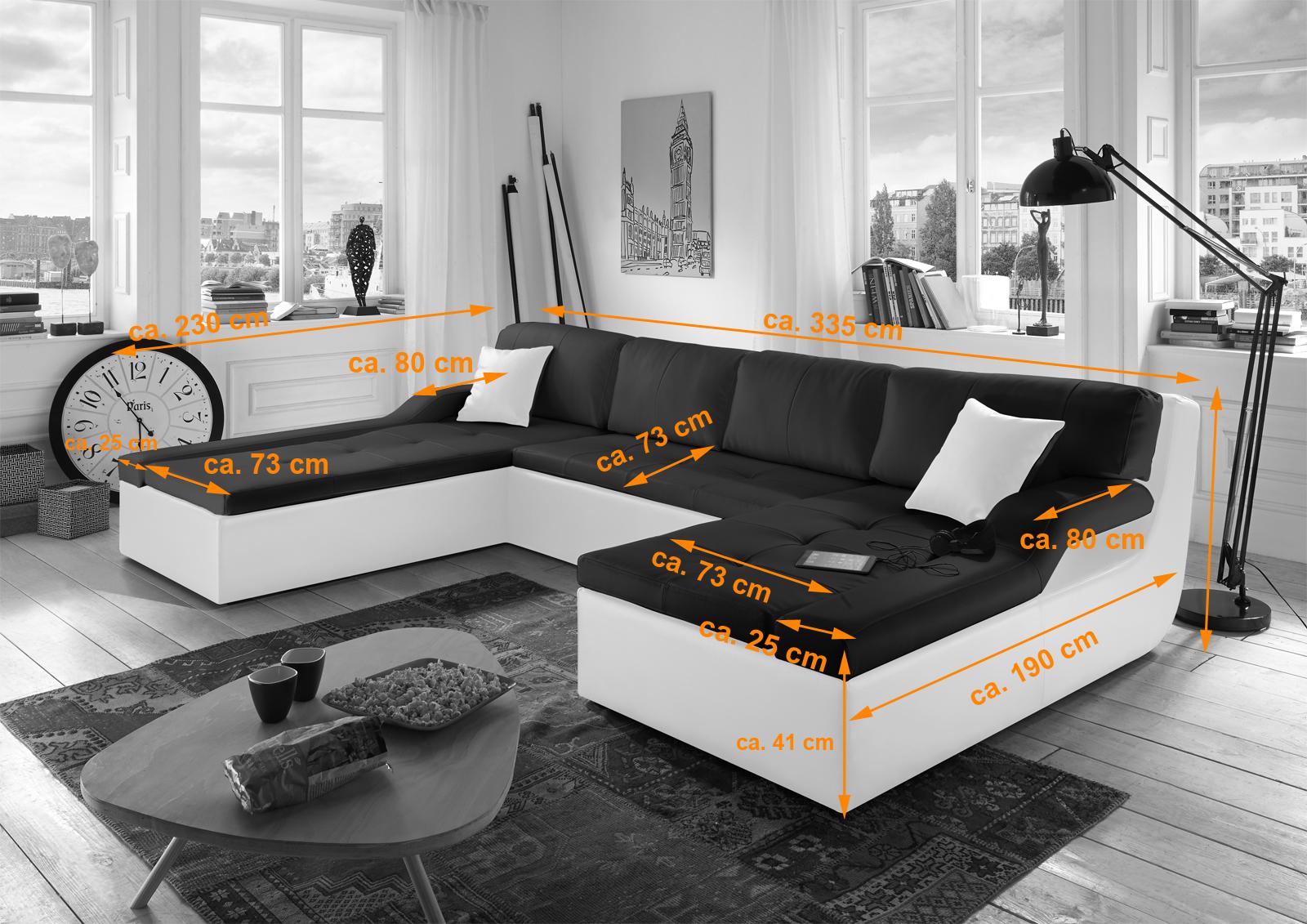 sam sofa schwarz wei wohnlandschaft rosella 230 x 335 x 190 cm bestellware - Schwarz Wei Sofa