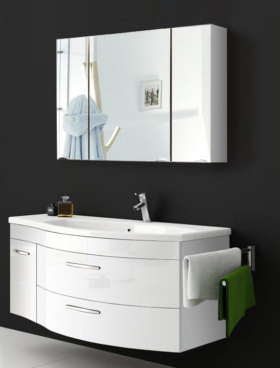 Gut SAM® Badmöbel Hochglanz Weiß 2tlg Spiegelauswahl Vena Rechts WI06