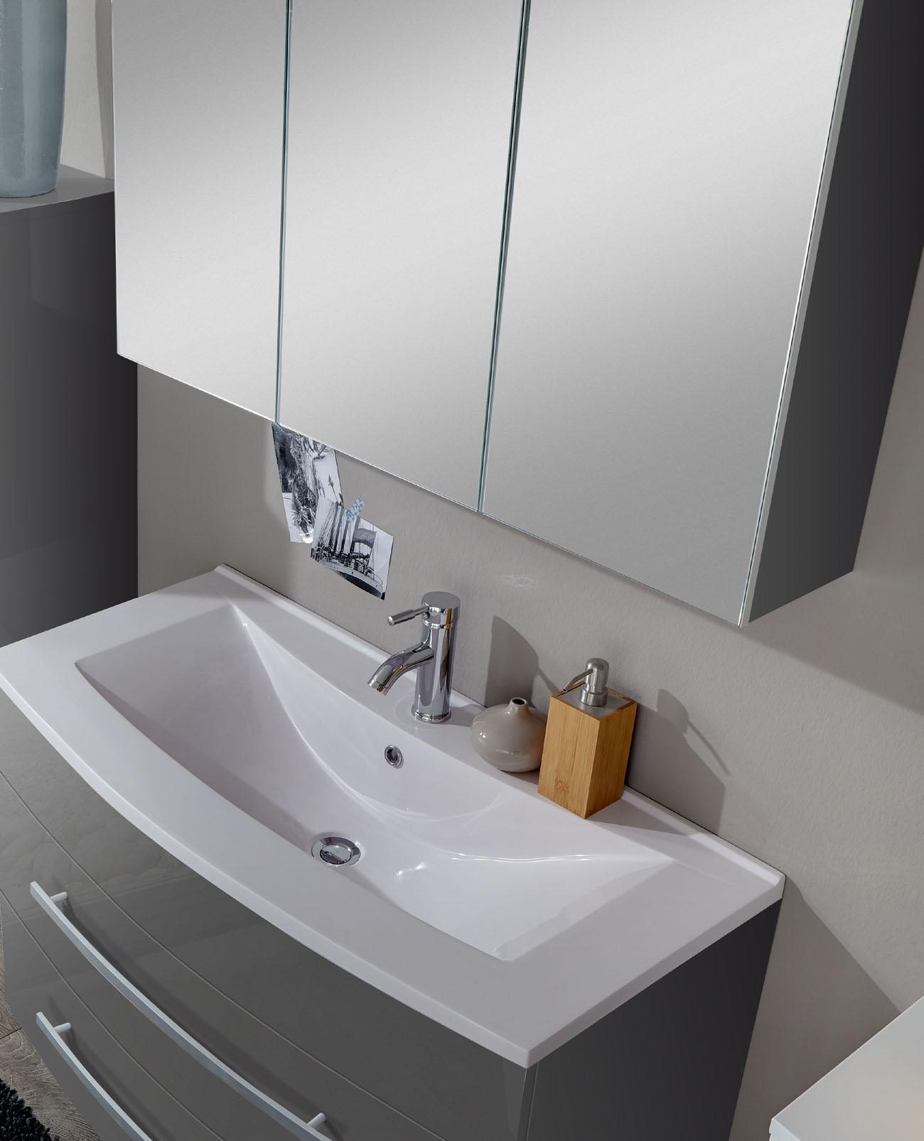SAM® 2tlg Badezimmer Set Hochglanz grau 80cm Genf Demnächst !