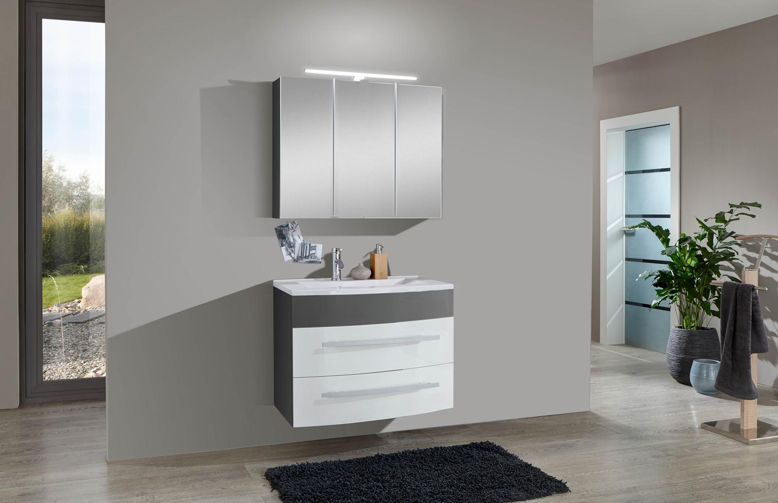 SAM® 2tlg Badezimmer Set Hochglanz Weiß Grau 80cm Genf Auf Lager !