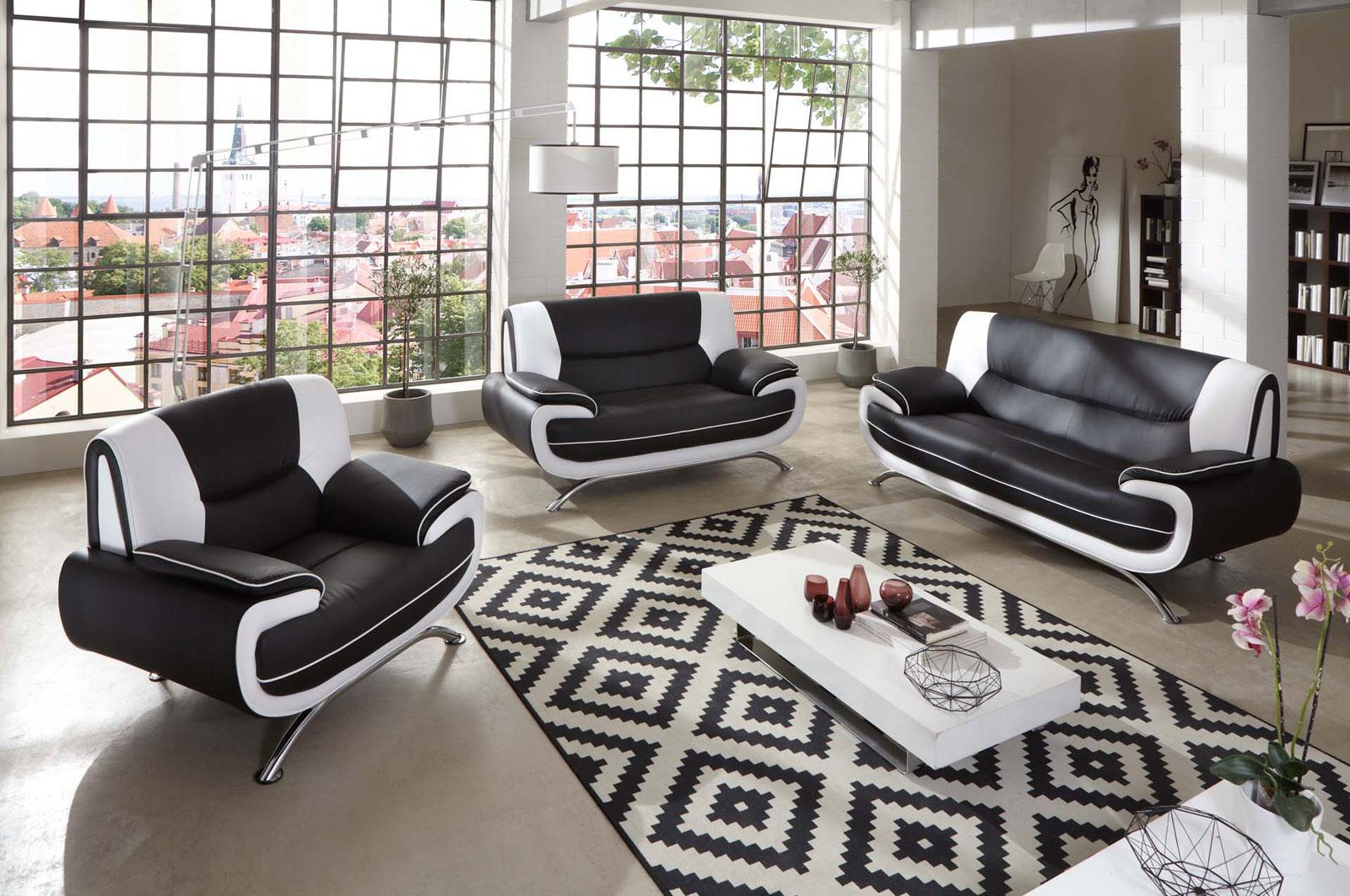 sam sofa garnitur 3tlg in schwarz wei passero 3 2 1 demnchst - Schwarz Wei Sofa
