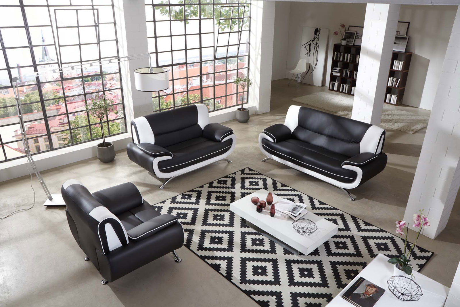 SAM® Sofa Garnitur 3tlg. in schwarz / weiß Passero 3-2-1 Demnächst !