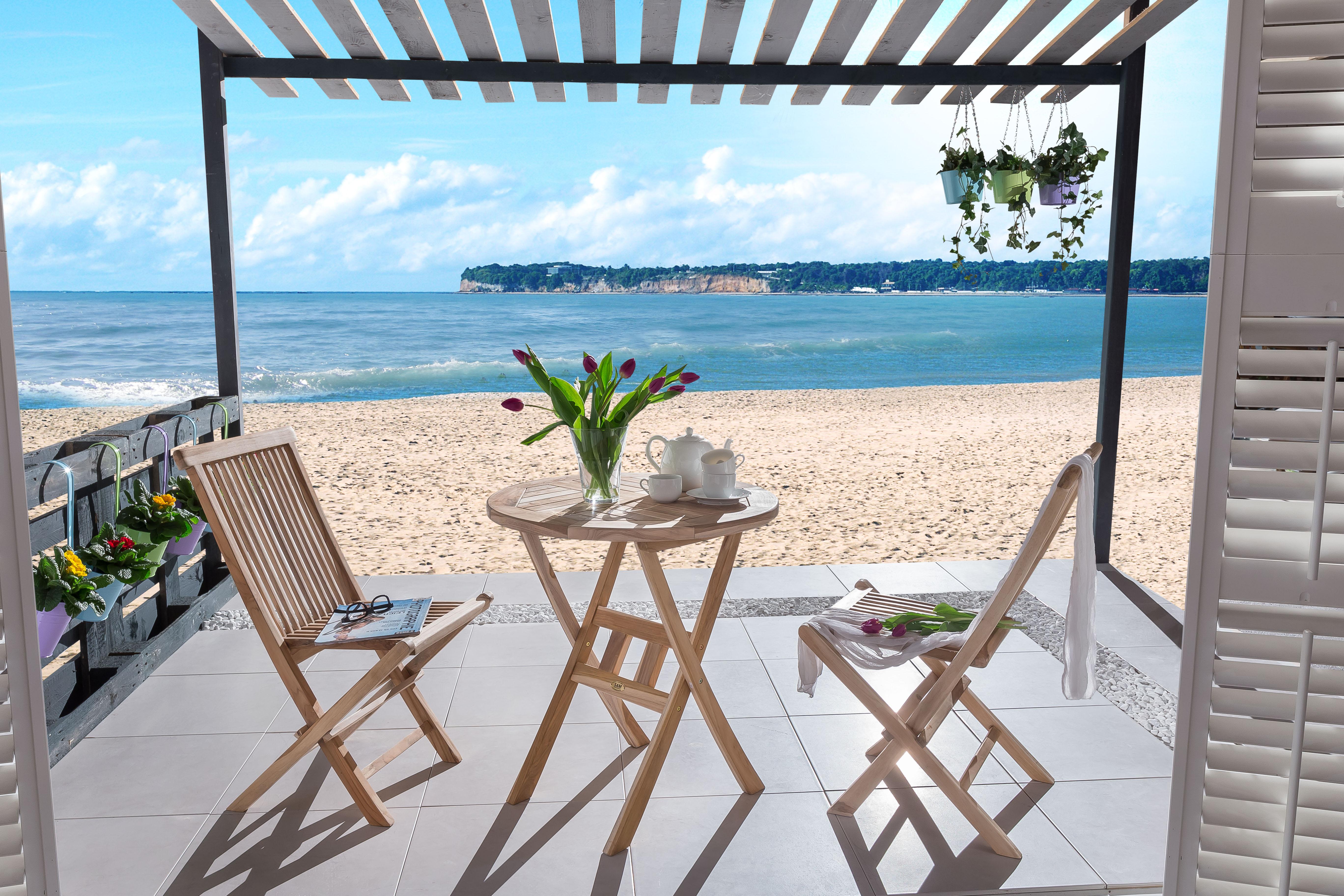sam balkonm bel teakholz balkonset 3tlg tisch 60x 60 cm. Black Bedroom Furniture Sets. Home Design Ideas