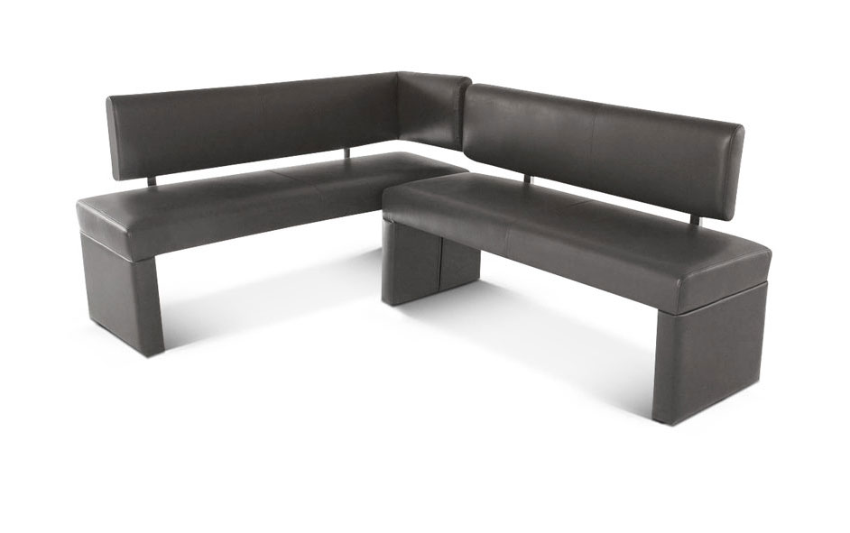 sam eckbank recyceltes leder 195 x 152 cm grau sabatina auf lager. Black Bedroom Furniture Sets. Home Design Ideas