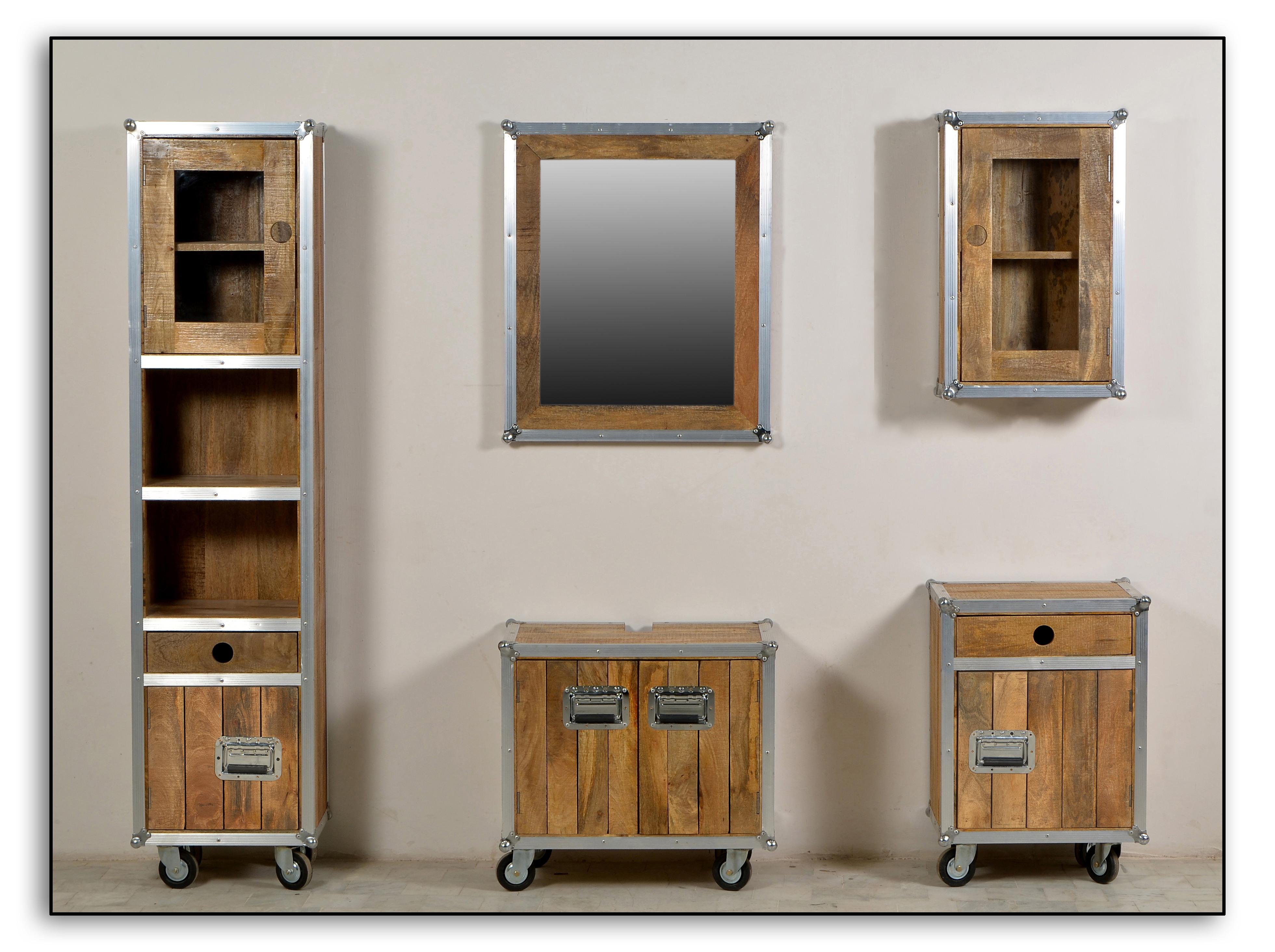 sam bad set 5tlg vintage holz metall mit rollen roadies. Black Bedroom Furniture Sets. Home Design Ideas