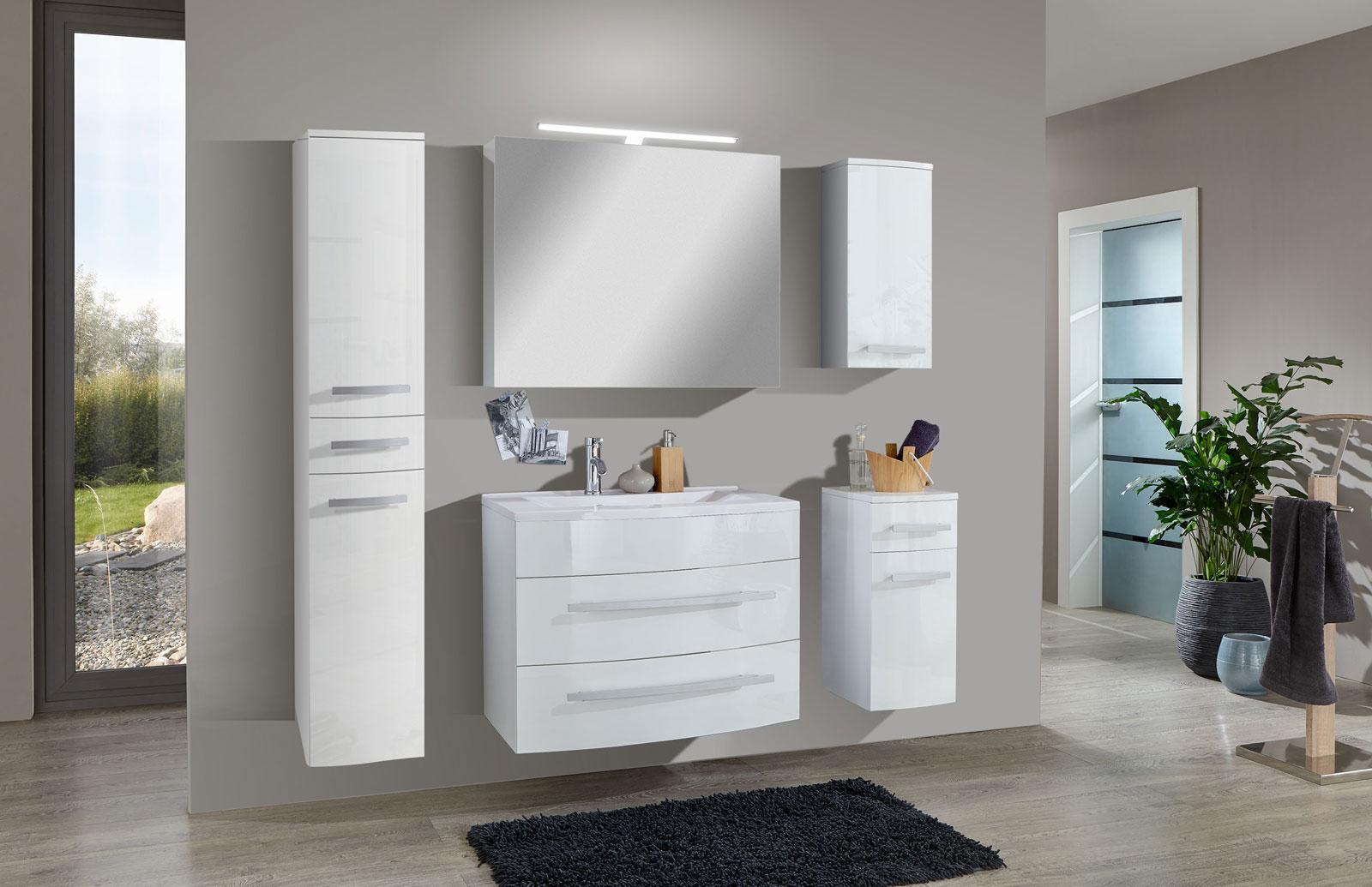 Sam® 5tlg Badezimmer Set Hochglanz Weiß 70 Cm Genf Deluxe Xl, Badezimmer  Ideen