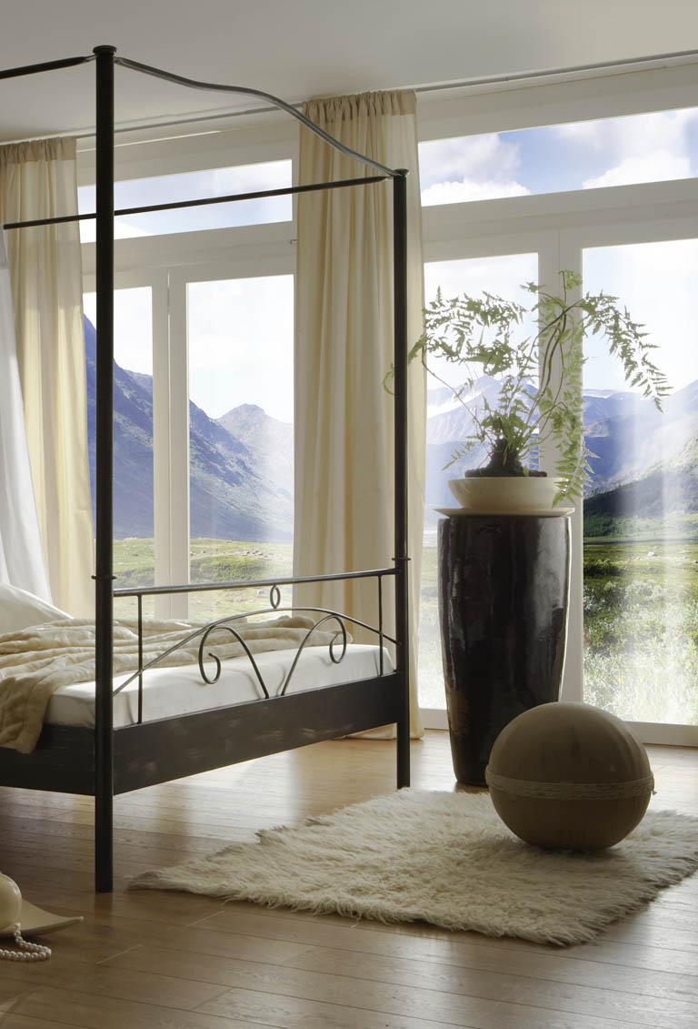sam metall himmelbett schwarz 180 x 200 cm castello. Black Bedroom Furniture Sets. Home Design Ideas