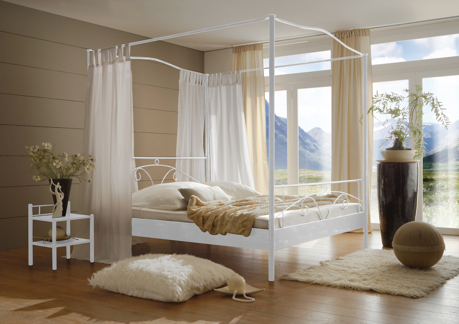 sam metall himmelbett wei 160 x 200 cm castello. Black Bedroom Furniture Sets. Home Design Ideas