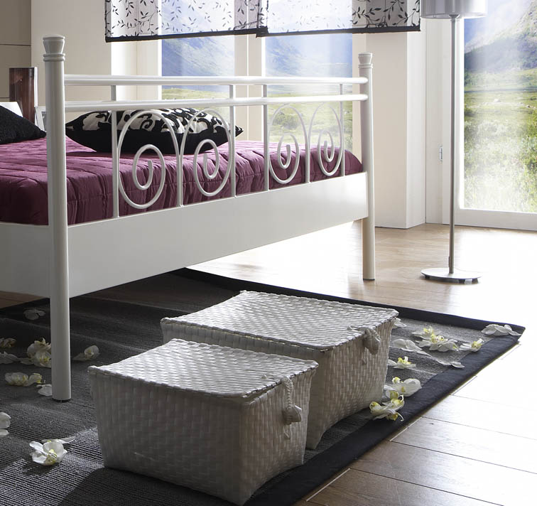 sam metallbett wei 140 x 200 cm rhodos g nstig. Black Bedroom Furniture Sets. Home Design Ideas