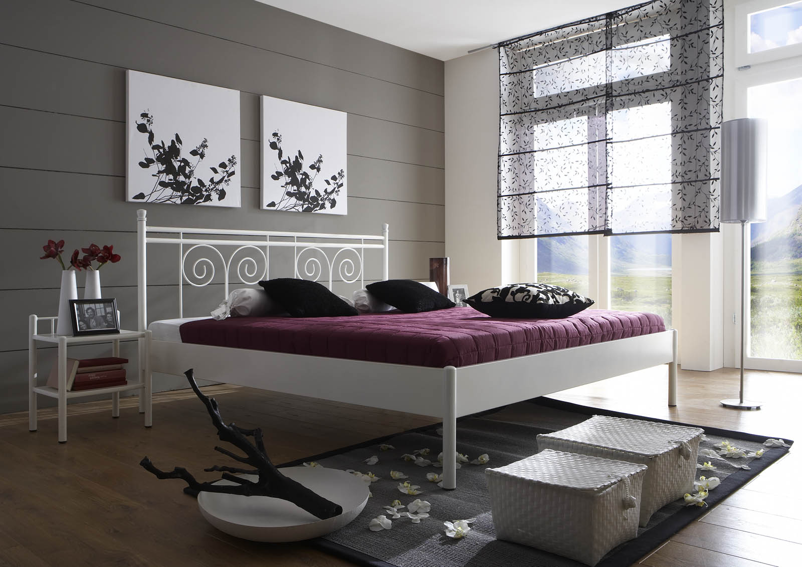 sam metallbett wei 140 x 200 cm kos g nstig. Black Bedroom Furniture Sets. Home Design Ideas