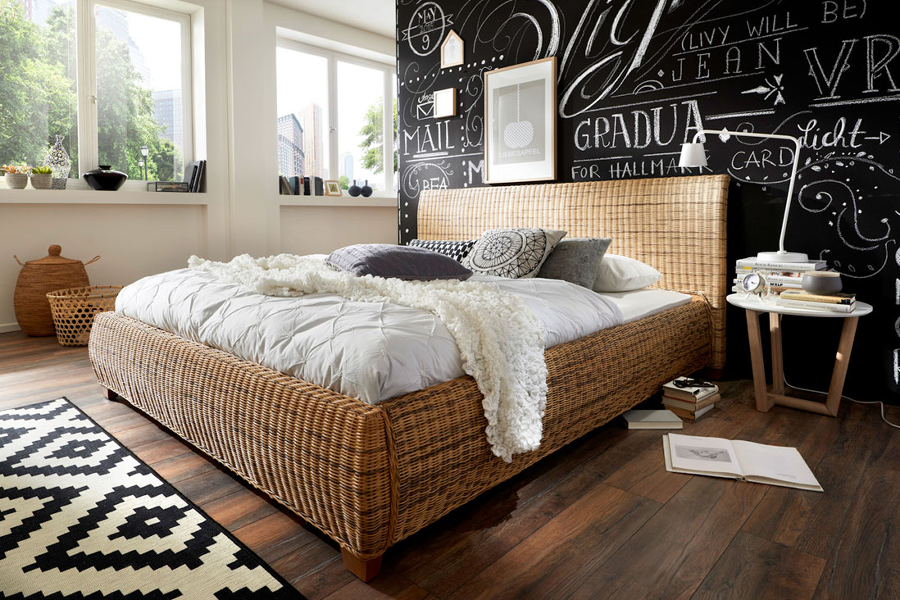 sam rattanbett doppelbett 140 x 200 cm rattan ngan 9134. Black Bedroom Furniture Sets. Home Design Ideas