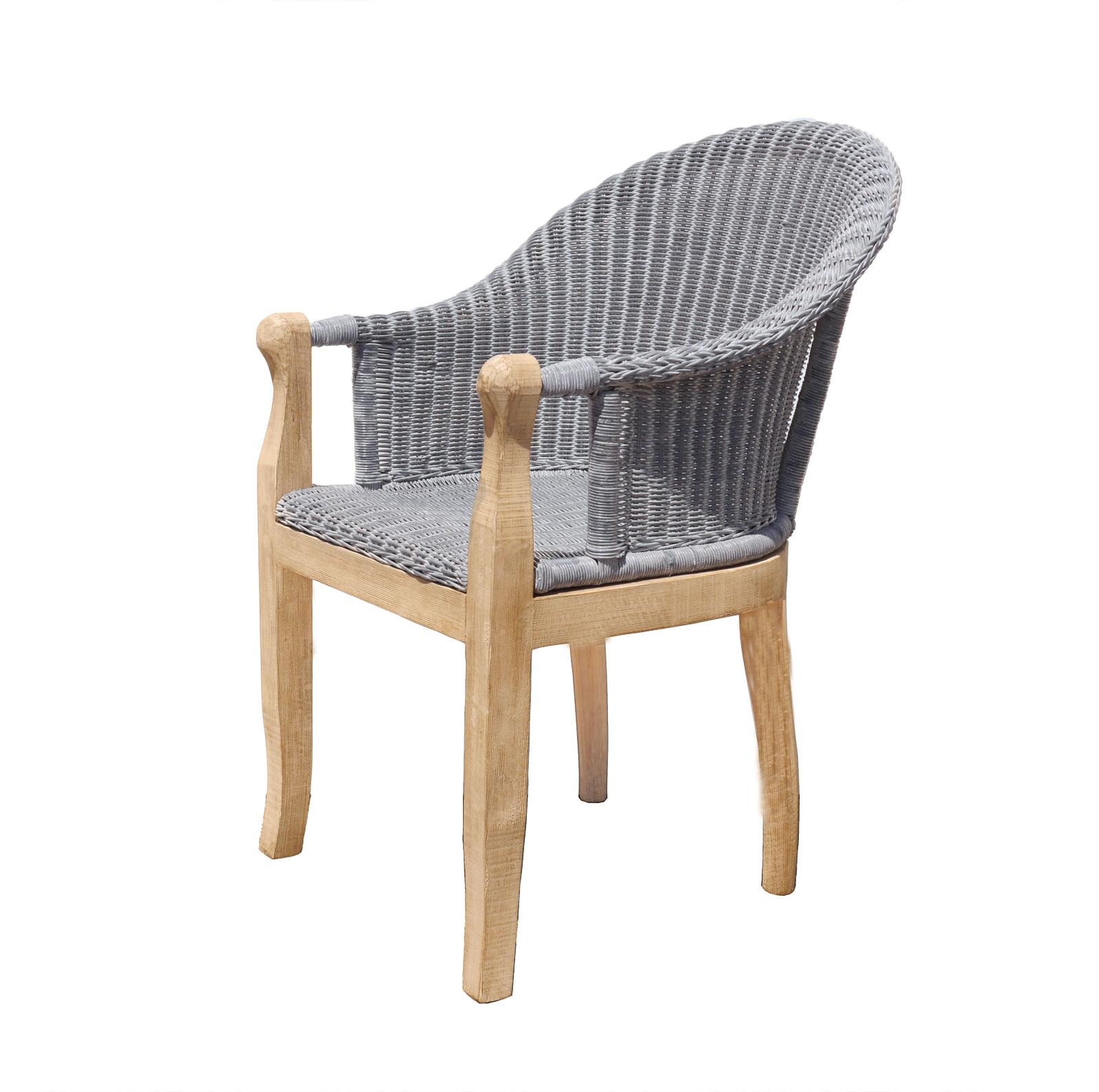 SAM® Esszimmer Stuhl Rattan grau Cobra mit Armlehnen