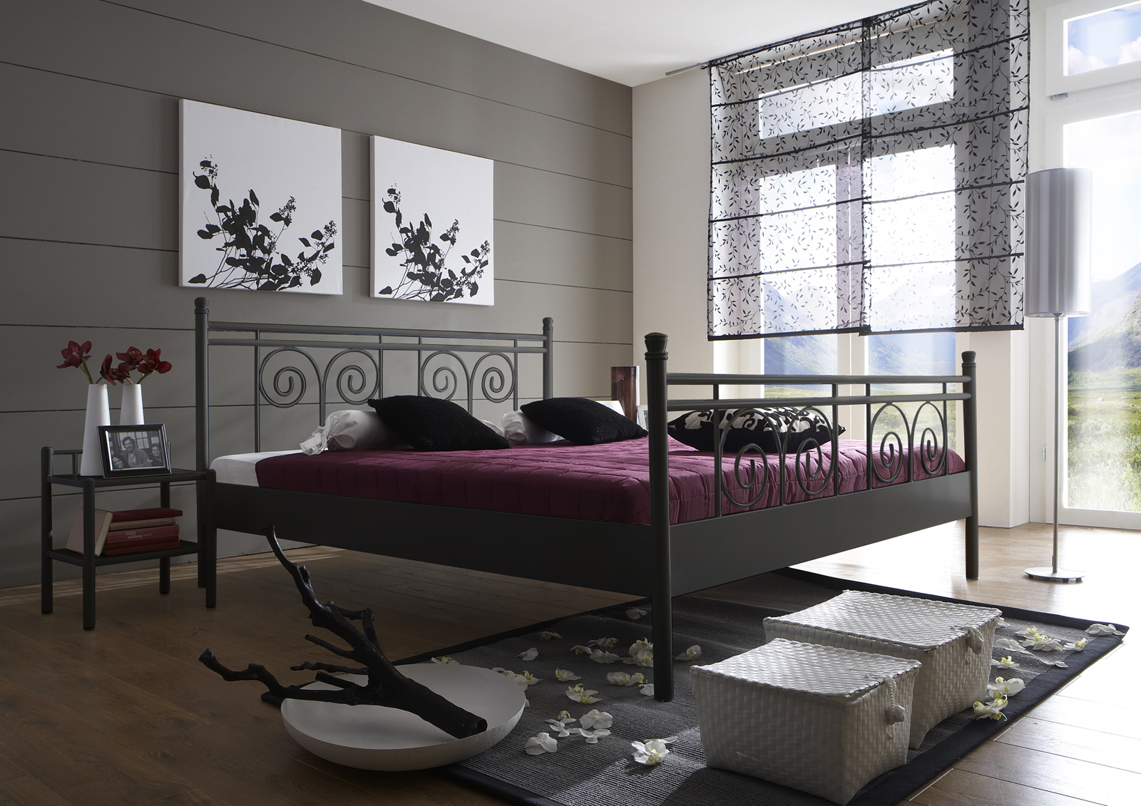 sam metallbett schwarz 160 x 200 cm rhodos g nstig. Black Bedroom Furniture Sets. Home Design Ideas